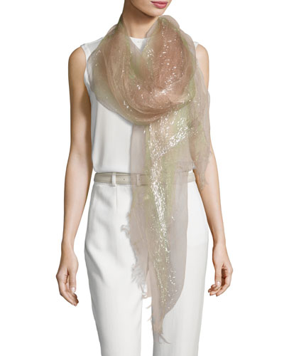 Dionix Sheer Metallic Stripe Scarf, Pink