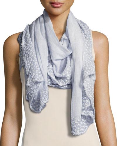 Seychelles Cotton Voile Boucle Scarf, Gray