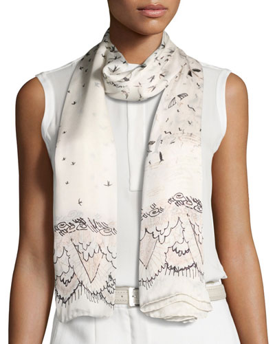 Swallow Metamorphosis Silk Scarf, Ivory