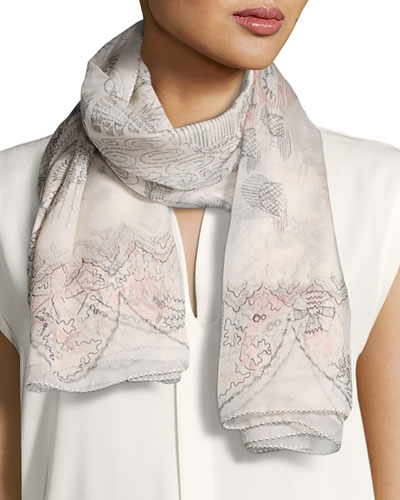 Garden of Delight Square Silk Scarf, Ivory