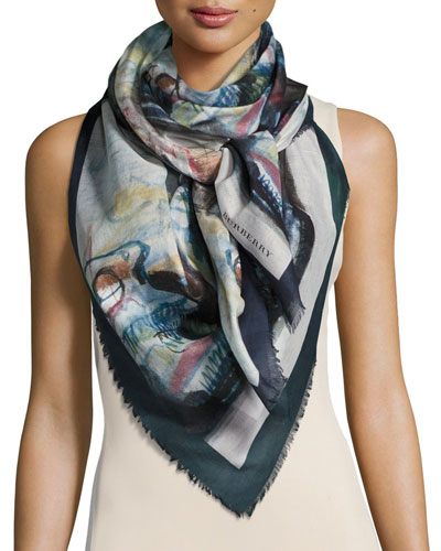 Henry Moore Abstract Figures Square Voile Scarf, Blue/Multicolor