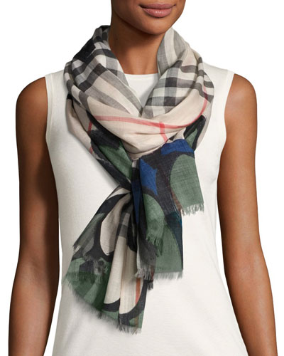 Scalloped Wool-Blend Check Scarf, Green