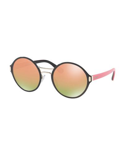 Round Mirrored Iridescent Sunglasses, Black/Pink