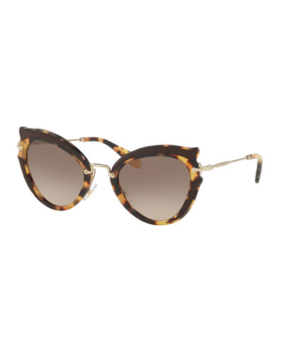 Gradient Cat-Eye Sunglasses, Havana