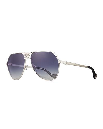 The Art Deco Aviator Sunglasses, Silver