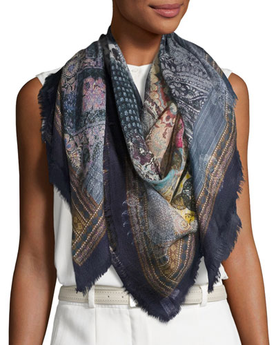 Oro Square Cashmere Patchwork Scarf, Blue