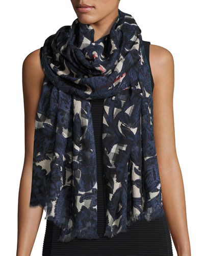 Floral Beasts Giant Check Scarf, Dark Blue