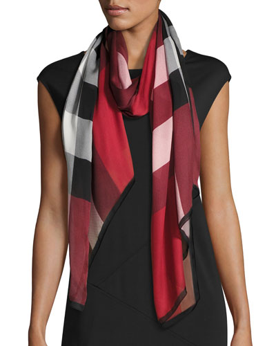Ultra Washed Mega Check Silk Scarf, Red