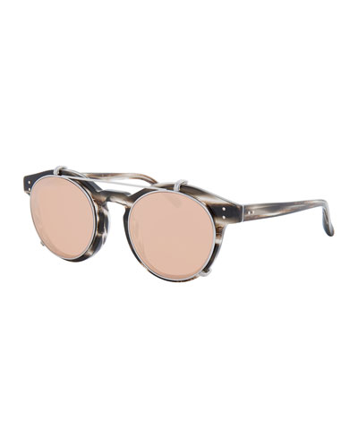 Round Acetate Sunglasses w/ Clip-On Lenses, White Gold/Horn