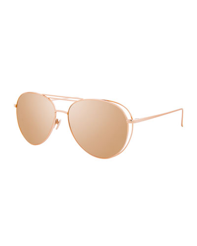 Open-Inset Aviator Sunglasses, Rose Gold