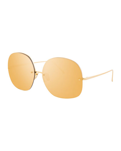 Rimless Oversized Square Sunglasses, Gold