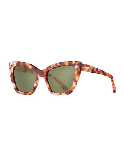 Calvi Monochromatic Cat-Eye Sunglasses, Pink Havana