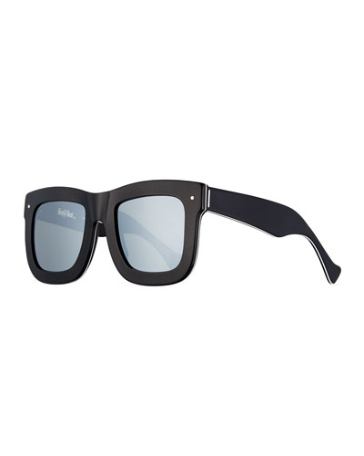 Status Square Mirrored Sunglasses, Black/White