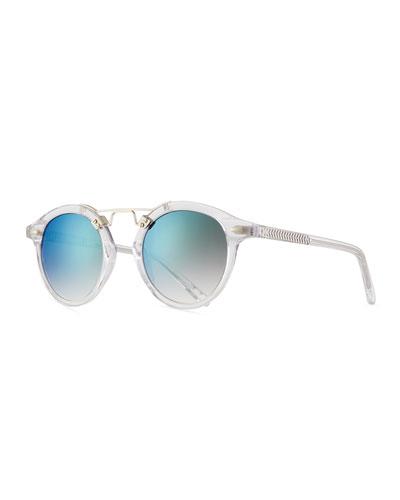 St. Louis Round Mirrored Sunglasses, Rose/Brown Tortoise