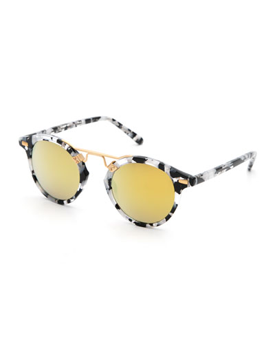 St. Louis Round Mirrored Sunglasses, White Tortoise