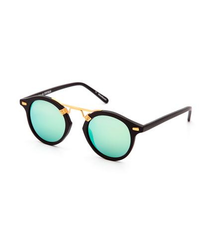 St. Louis Round Mirrored Sunglasses, Black