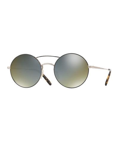 Nickol Round Mirrored Sunglasses, Black