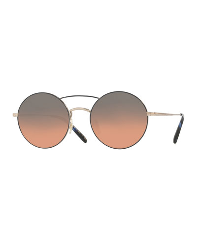 Nickol Round Mirrored Sunglasses, Blue