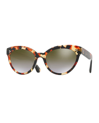 Roella Mirrored Cat-Eye Sunglasses, Red Tortoise