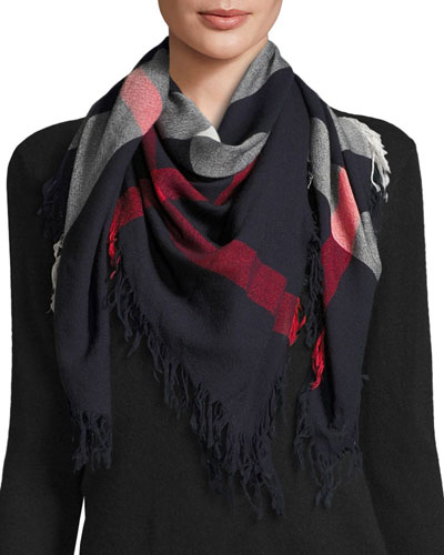 Color Check Wool Scarf, Navy