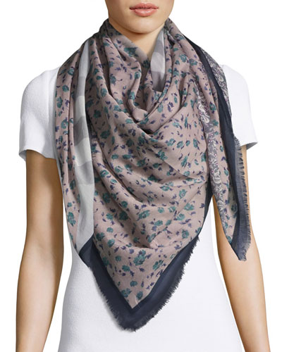 Square Floral Patchwork Scarf, Blue