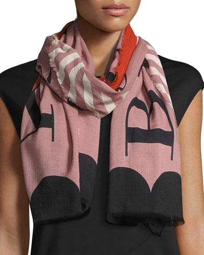 Lightweight Patterned Logo Scarf, Light Pink