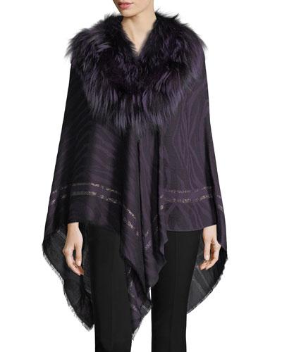 Woven Jacquard Poncho w/ Fur Collar