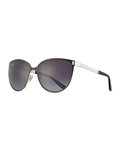 Posie Crystal-Temple Round Sunglasses, Black