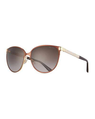 Posie Crystal-Temple Round Sunglasses, Brown