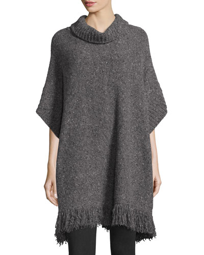 Hatice Tweed Cowl-Neck Tunic Sweater