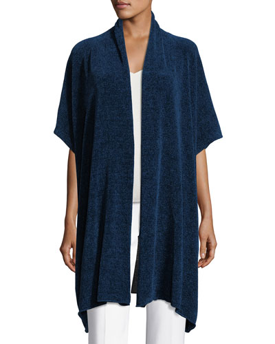 Short-Sleeve Chenille Shawl-Collar Cardigan