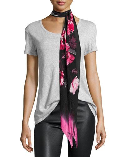 Flora Classic Skinny Silk Fringe Scarf, Pink/Black