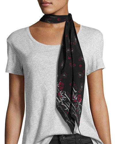 Paisley Super Skinny Silk Scarf, Black
