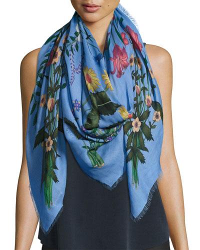 New Flora Shawl, Blue