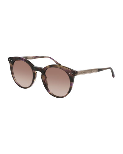 Round Gradient Transparent Sunglasses, Brown Havana