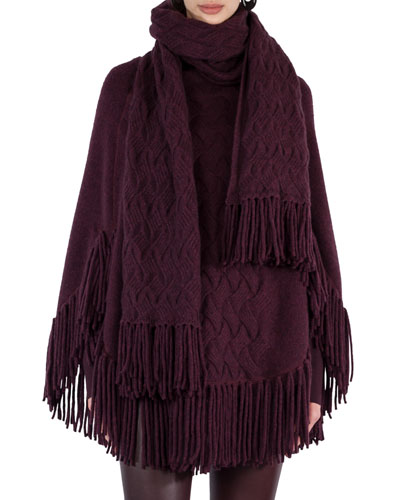 Fringed Cable-Knit Shawl