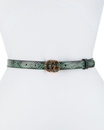 Jewel GG Snakeskin Belt
