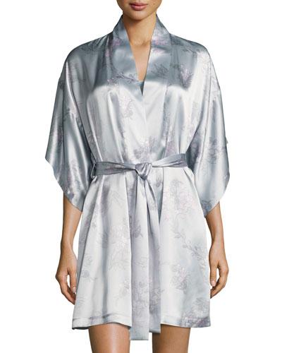 Wisteria Floral-Print Silk Short Wrap Robe, Blue Pattern