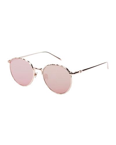 Corpus Round Mirrored Sunglasses, Rose Gold