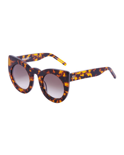 Wolves Gradient Cat-Eye Sunglasses, Brown Havana