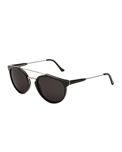 Giaguaro Brow-Bar Sunglasses, Black/Gray
