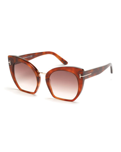 Samantha Cropped Cat-Eye Sunglasses, Havana