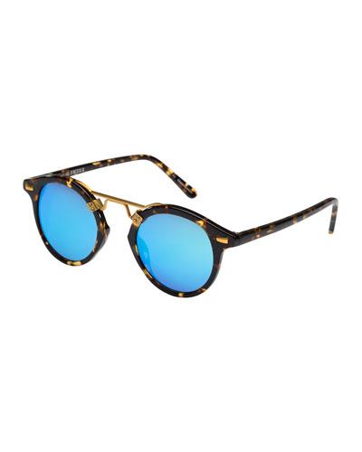 St. Louis Round Mirrored Sunglasses, Blue/Tortoise
