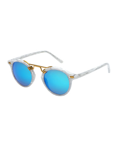 St. Louis Round Gradient Sunglasses, Blue/White