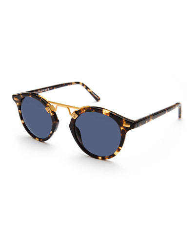 St. Louis Round Polarized Sunglasses, Blue/Brown Tortoise