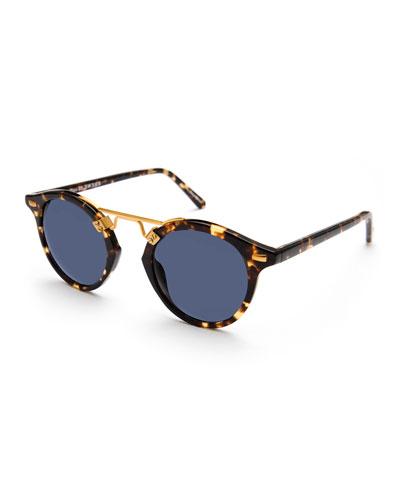 St. Louis Round Polarized Sunglasses, Blue/Brown Tortoise