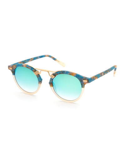 St. Louis Round Two-Tone Sunglasses, Neutral/Blue
