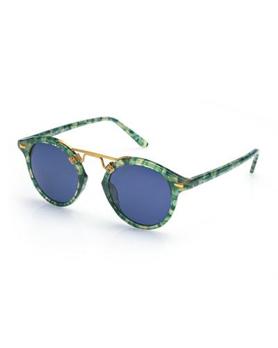 St. Louis Round Monochromatic Sunglasses, Blue/Green Tortoise