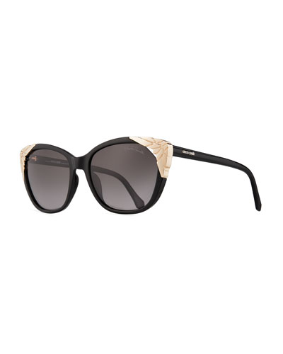 Capped Cat-Eye Sunglasses, Black
