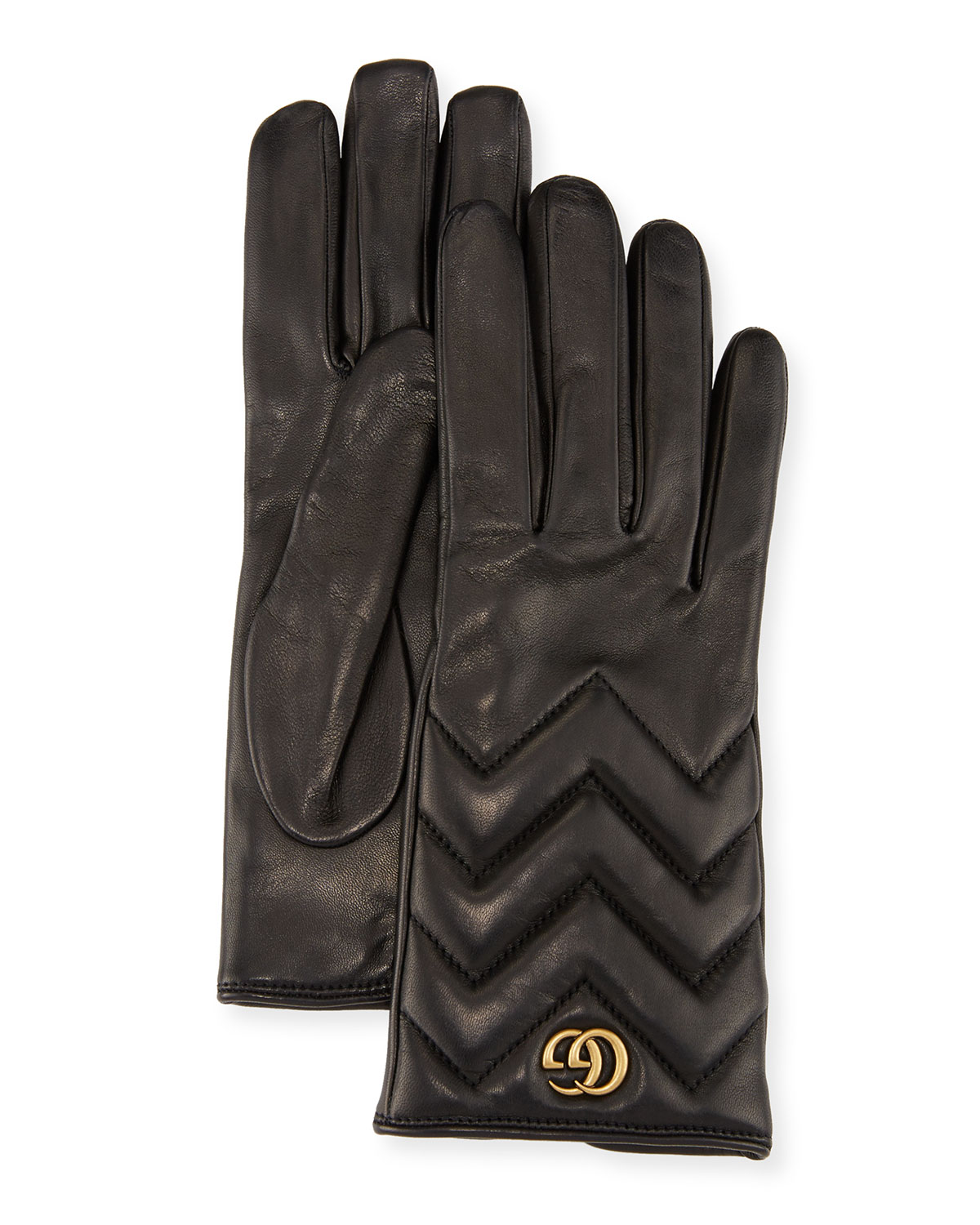 Gg Marmont Chevron Leather Gloves, Black, Rose